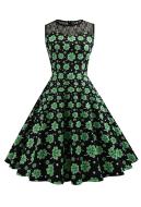 St. Patricks Day Shamrock Vintage Sleeveless Dress Women Green Clover Dress for St. Patricks Day Cosplay