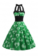 St. Patricks Day Vintage Sleeveless Dress Women Green Halter Dress with Shamrock and Heart Pattern