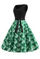 St. Patricks Day Women Vintage Sleeveless Dress V-neck Shamrocks Floral Pattern Evening Party Dress