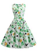 St. Patricks Day Women Vintage Sleeveless Dress V-neck Shamrocks, Balloon, Hat Mixed Pattern Evening Party Dress