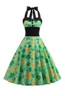 St. Patricks Day Vintage Sleeveless Dress Women Green Halter Dress with Shamrock, Four-leaf clover, leaf Pattern Evening Party Dress