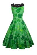 St. Patricks Day Vintage Sleeveless Dress Women Green Shamrock Floral Print Dress with Hollow Lace