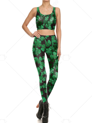ab80002e817320 St. Patricks Day Irish Four-leaf Clover Printed Fashion Top Suit and Leggings  Pants