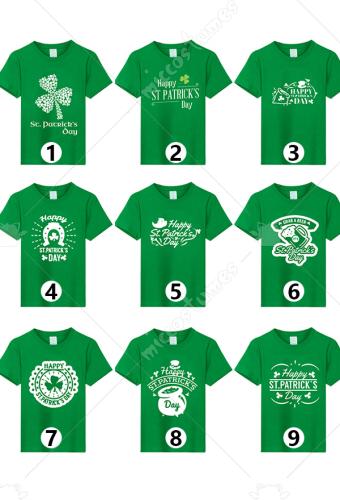 a194cd01d Adult St. Patricks Day Irish Shamrock Clover Printed Green Cotton T-shirt