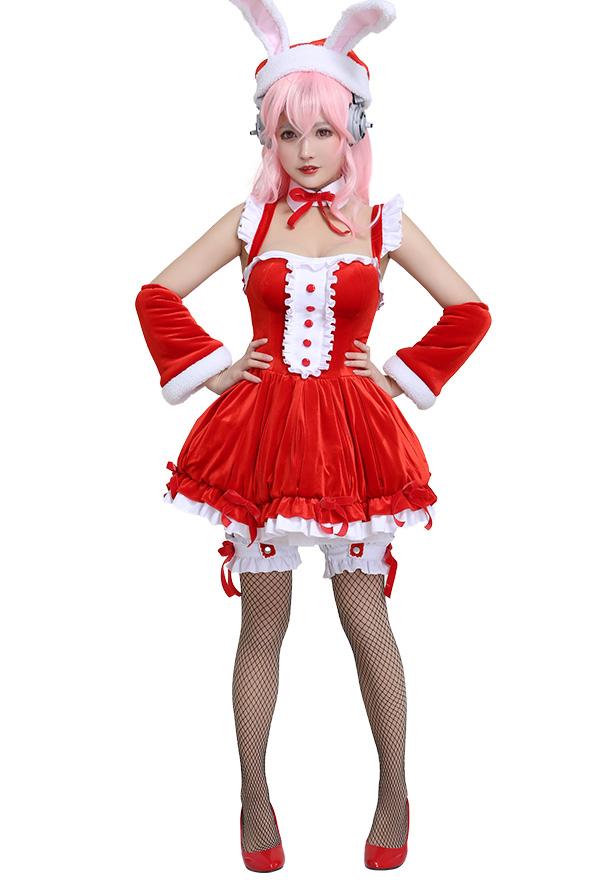 Super Sonico Weihnachten Kleid Cosplay Kostüm mit Bunny Ohren Hut