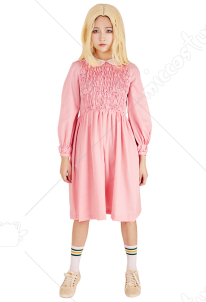 [Free Shipping]Stranger Things Eleven Pink Dress Girls Dress Costume