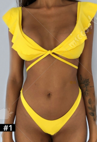 Woman Sexy Cute Two Piece Set Lotus Hem Pattern Halter Crossing Strapped Top and Shorts Swimsuit Swimwear Bodysuit Beach Suit Bathing Suit