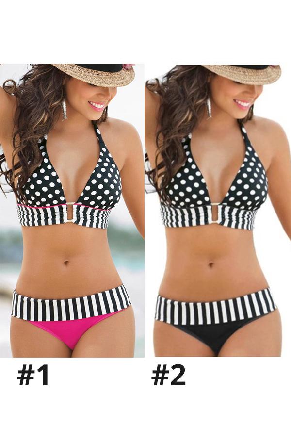 Retro Damen Halfter Wellenpunkt Zweiteiliger Badeanzug Sexy Streifen Rückenfrei Binde Bikini