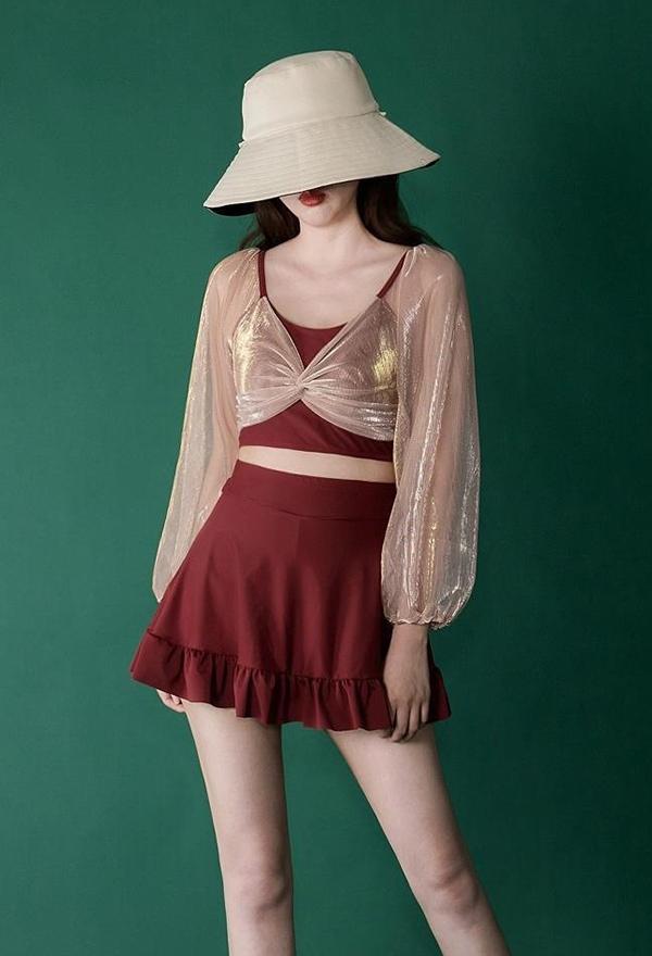Damen Retro Zweiteiliger Badeanzug Laternenärmel Lange Ärme Regenschirmrock Rüschen Hoher Taille Transparente Ärmel Badeanzug
