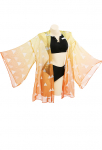 [PRE-ORDER] Demon Slayer Kimetsu no Yaiba Zenitsu Agatsuma Cosplay Costume Woman Two Piece Beach Swimsuit V Neck High Waist Lace Up Bathing Suit Swimwear Set with Sheer Kimono Cardigan Cover Up