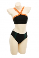 [PRE-ORDER] My Hero Academia MHA Bakugo Katsuki Kacchan Black Hero Costume Battle Suit Dereviated Halter Spliced Bikini Split Swimsuit Swimming Pants Swimwear Bodysuit Bathing Suit Outfit Cosplay Costume