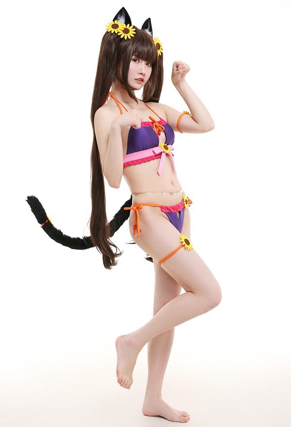 NEKOPARA Chocola Badeanzug Catgirl mit Ohr Schwanz Neckholder-Badeanzug  Cosplay Kostüm