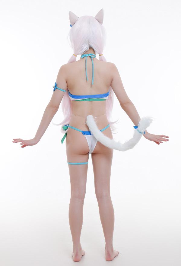 NEKOPARA Vanilla Badeanzug Catgirl mit Ohr Schwanz Neckholder-Badeanzug  Cosplay Kostüm