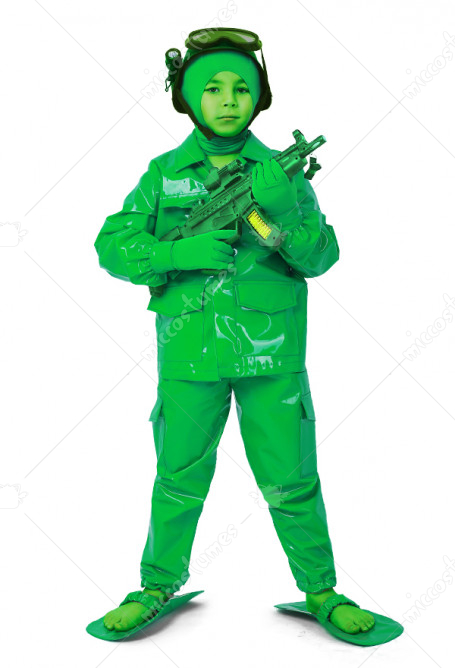 Child Toy Green Army Man Halloween Soldier Costume For Kids