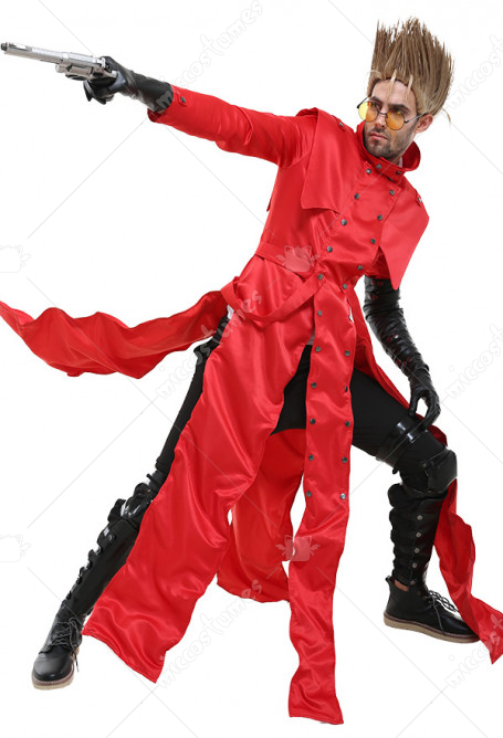 Trigun Vash the Stampede Cosplay Costume Red Trench Coat
