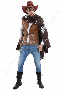 Classic Western Wandering Gunman Costume with Cape Vest and Belt & Holster