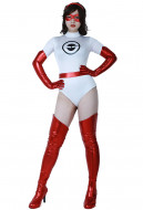 The Incredibles Mrs. Incredible Elastigirl Helen Parr White Jumpsuit Cosplay Costume with Eyepatch