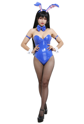 To LOVE-Ru Yui Kotegawa Bunny Girl One-Piece Leather Zentai Bodysuit Jumpsuit Outfits Cosplay Costume with Bunny Ear Headdress and Tail