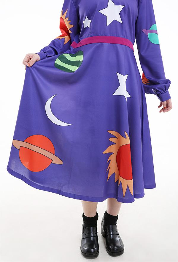 Vintage Lila Langarm Knopf A-Line Swing kompliziertes Kleid