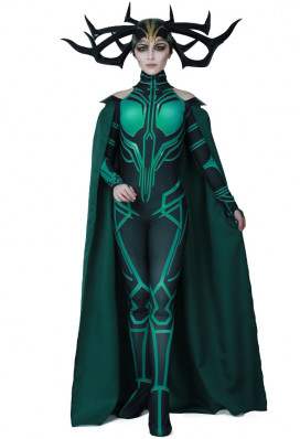 Superhero Cosplay Costume Jumpsuit Bodysuit with Cloak Inspired by THOR 3: Ragnarok Hela with Cape Make to Order