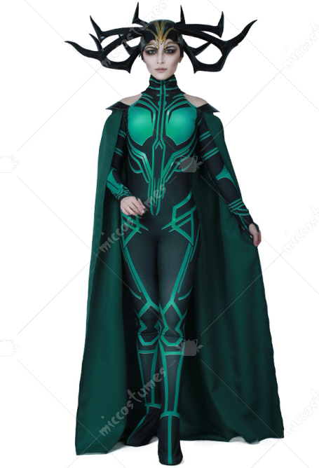 [Free US Economy Shipping] Superhero Cosplay Costume Jumpsuit Bodysuit with Cloak Inspired by THOR 3: Ragnarok Hela with Cape Make to Order