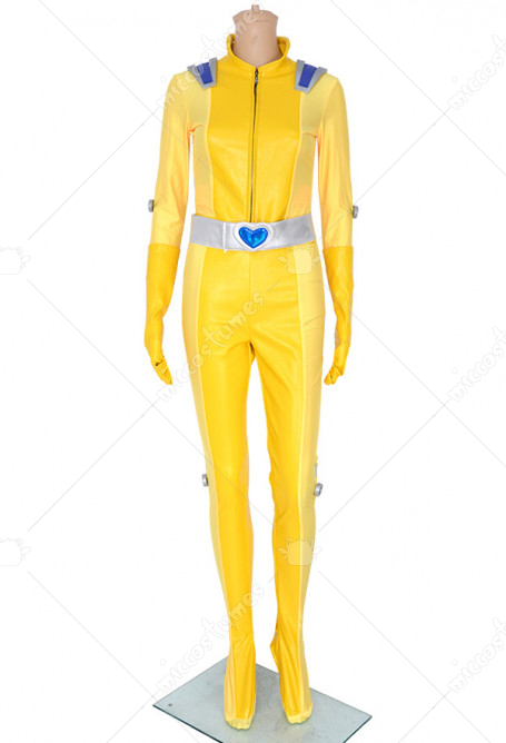 Totally Spies Alex Yellow Cosplay Costume Bodysuit Jumpsuit with Gloves and Belt