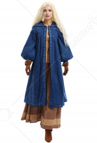 The Witcher TV Series Ciri Cosplay Costume Retro Medieval Outfit Top and Skirt with Hooded Coat