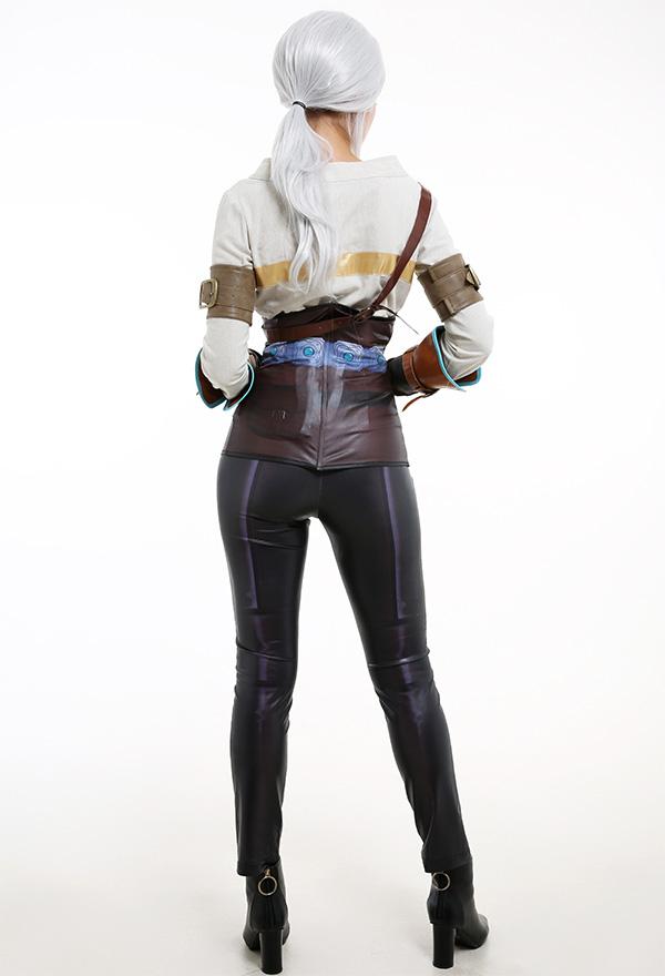 The Witcher 3 Damen Cosplay Kostüm Enge Hosen mit Leder Handschuhe Lange Ärme Niedriger Kragen T Shirt Cosplay Kostüm