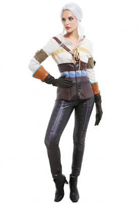 The Witcher 3 Wild Hunt Ciri Cosplay Costume Outfit with Corset Arm Guards Gloves Shoulder Strap
