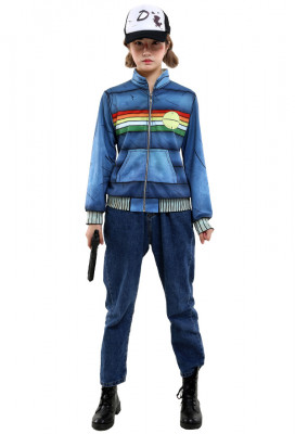 The Walking Dead Video Game Clementine Cosplay Costume Coat with Hat