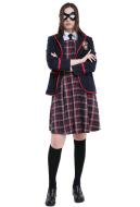 The Umbrella Academy Women School Uniform Cosplay Costume with Eyepatch