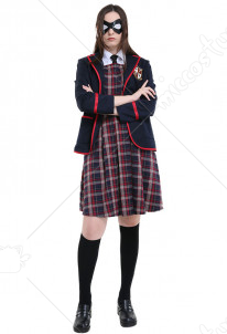 The Umbrella Academy Women School Uniform Cosplay Costume with Eyepatch