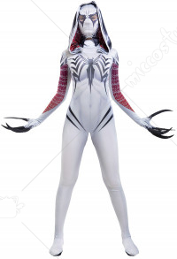 Venom Gwen Cosplay Costume Hooded Bodysuit Jumpsuit