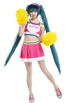 Miku Project DIVA Cheerleader Miku Gym Sportswear Cosplay Costume Full Set with Headwear and Accessories