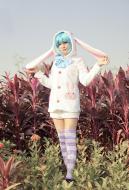 Vocaloid Hatsune Miku Long-sleeve Pajamas Rabbit Ear Cosplay Costume