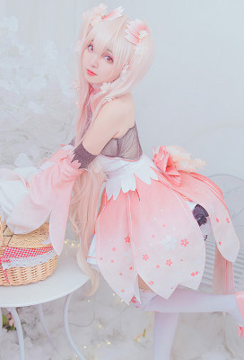 Vocaloid Sakura Miku Pink Dress Cosplay Costume