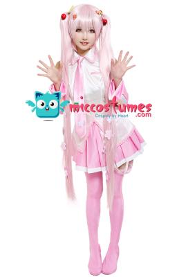 Vocaloid Sakura Miku Hatsune Cosplay Costume with Sakura Hair Pins
