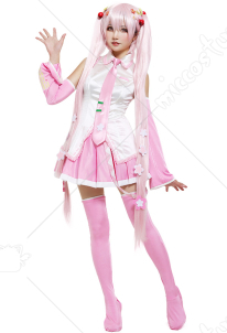Sakura Miku Hatsune Cosplay Costume with Sakura Hair Pins