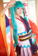 Vocaloid Hatsune Miku Ceremonial Kimono Festival Cosplay Costume