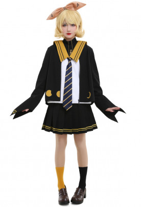 Vocaloid Rin Kagamine Cat and Moon Waxing Sailor Uniform JK Style Cosplay Costume Set with Tie