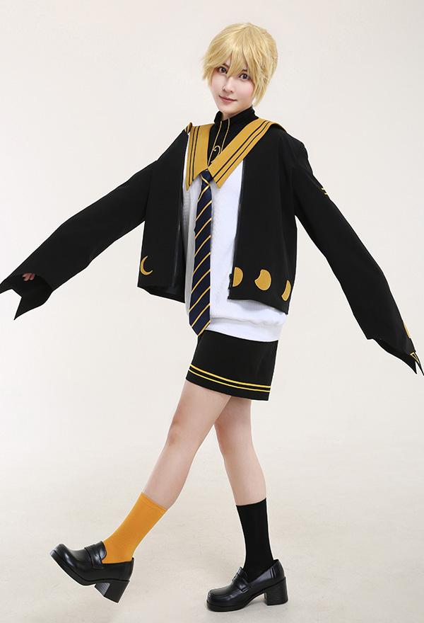 Len Cat and Moon Waning Sailor Uniform JK Style Cosplay Kostüm Navy-Stil Kurze Hose Cosplay Kostüm Set mit Krawatte