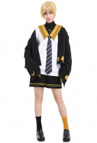 Vocaloid Len Kagamine Cat and Moon Waning Sailor Uniform JK Style Cosplay Costume Set with Tie