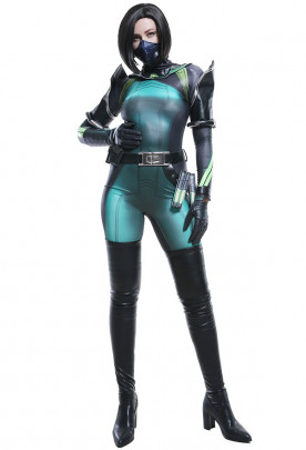 Valorant Snake Sabine Women Assasin Viper Zentai Bodysuit Jumpsuit Cosplay Costume with Mask