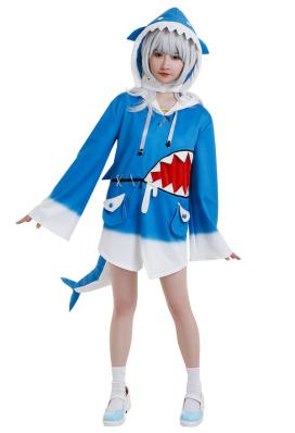Gawr Gura Same Chan Shark Hoodie Cosplay Costume Cute Irregular Hemline Drawstring Hooded Sweatshirt Pullover Top Bell Sleeve Daily Outfits with Headgear Tail Hair Accessory