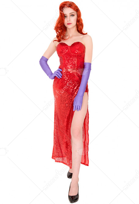 Jessica Rabbit Rot Kleid Cosplay Kostüm