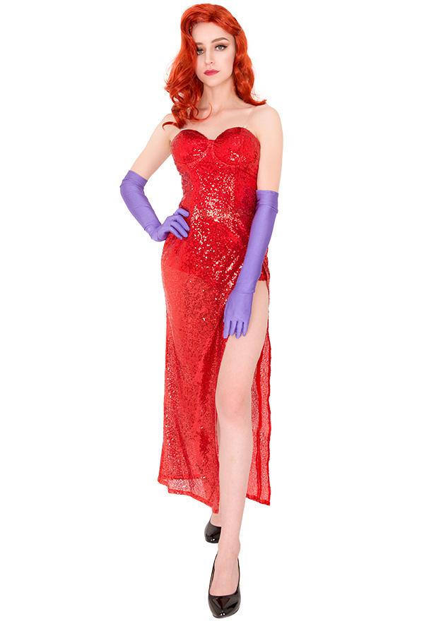 Jessica Rabbit Rot Kleid Cosplay Kostüm