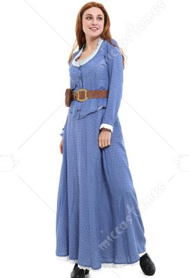 Westworld Dolores Abernathy Blue Dress Cosplay Costume Woman Long Dress