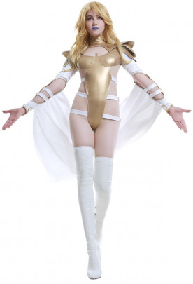 White Queen Emma Frost Cosplay Costume Poenix Force Bodysuit Sexy Jumpsuit with Cape