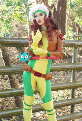 Superhero Cosplay Suit with Kneepad and Shoe Covers Inspired by Rogue Make to Order