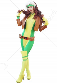 X-Men Superhero Rogue Cosplay Costume Suit with Kneepad and Shoe covers